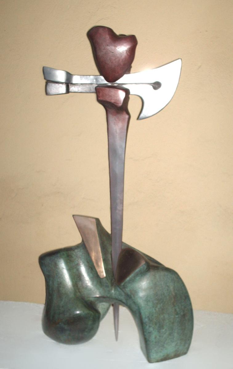 GIUSTIZIERE- bronzo e alluminio- cm 100-2001