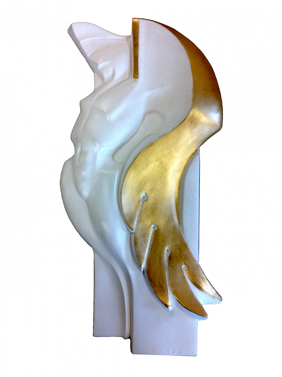 Angelo- gesso e foglia oro- 45x28x3  2012